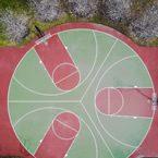 Construcción de pista de baloncesto circular